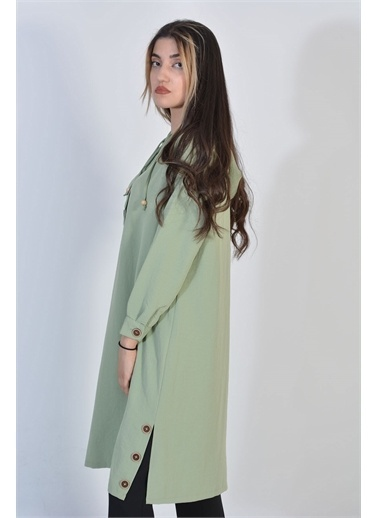Zeren Kadın Mint Yan Düğme Detay Tunik Yeşil